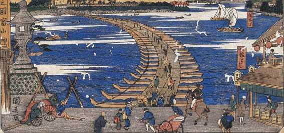 「越中之國 富山船橋之真景」松浦守美(1824〜1886) (株)源 所蔵