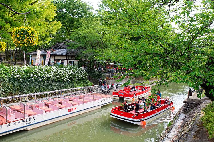 新緑の松川遊覧船のりば(松川茶屋)