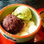 富山観光遊覧船のりば「松川茶屋」のあずき白玉抹茶アイス入り